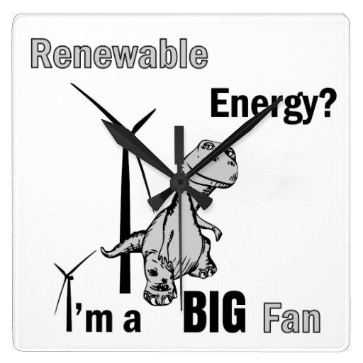 Big Fan of Renewable Energy Square Wall Clock
