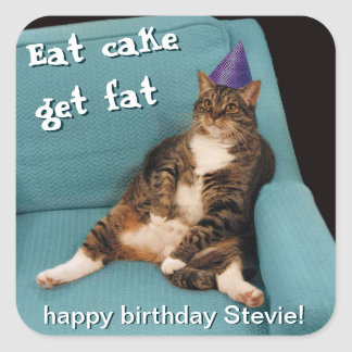 Big Fat Cat Sitting in Chair Purple Birthday Hat Square Sticker
