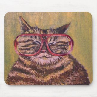 Big Fat Glasses Cat Mousemat zazzle_mousepad