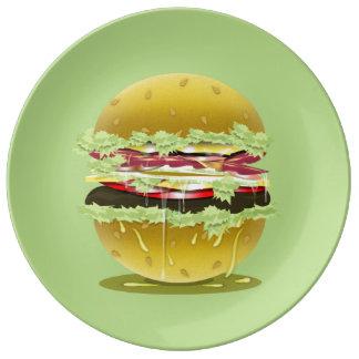 Big Fat Juicy Hamburger Decorative Porcelain Plate