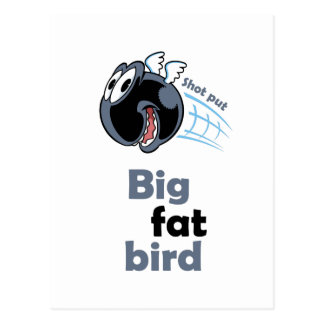 Big fat shot put bird postcard