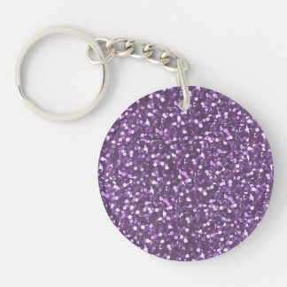 Big Faux Glitter Shiny Sparkles Purple Violet Keychain