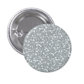 Big Faux Glitter Shiny Sparkles Silver White Color Pinback Button
