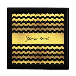 Big Faux Gold Foil Black Chevrons Keepsake Box