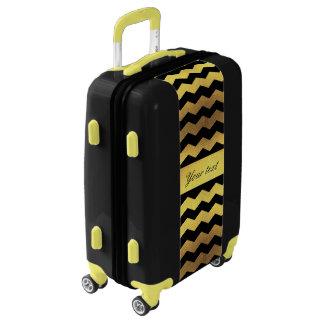Big Faux Gold Foil Black Chevrons Luggage