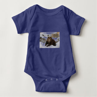Big Female Grizzly Bear In The Snow Baby Bodysuit