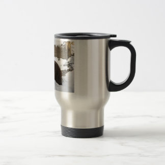 Big Female Grizzly Bear In The Snow Travel Mug