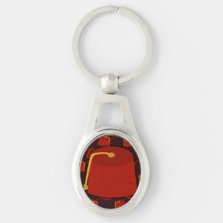 Big Fez Little Fez Silver-Colored Oval Metal Keychain