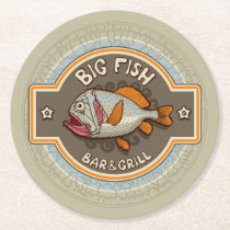 Big Fish Bar And Grill Poster Round Paper Coaster