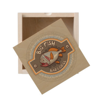 Big Fish Bar And Grill Poster Wooden Keepsake Box