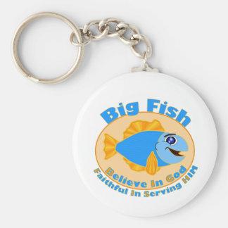 Big Fish Believe in God Basic Round Button Keychain