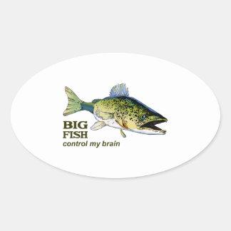 BIG FISH CONTROL MY BRAIN OVAL STICKER