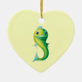 Big Fish Double-Sided Heart Ceramic Christmas Ornament
