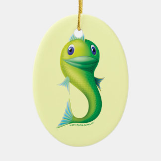 Big Fish Double-Sided Oval Ceramic Christmas Ornament