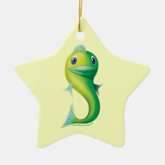 Big Fish Double-Sided Star Ceramic Christmas Ornament