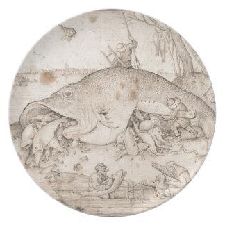 Big Fish Eat Little Fish by Pieter Bruegel Melamine Plate