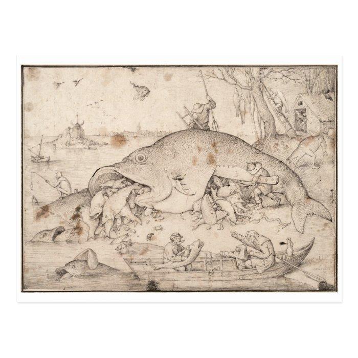 Big fish eat little fish by pieter bruegel postcard zazzle for Big fish eat little fish