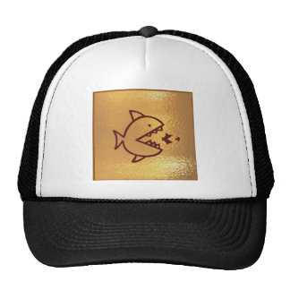 Big fish eat SMALL Fish golden sparkle gifts shirt Trucker Hat
