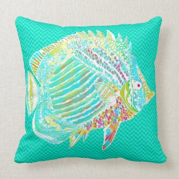 Beach Themed Big Fish Turquoise Accent Pillow