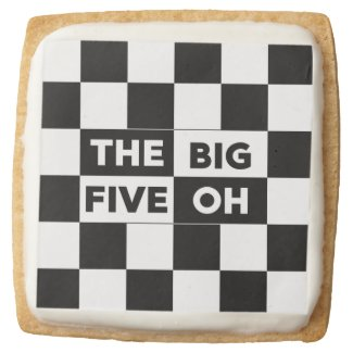 Big Five Oh Black White Checkered 50th Birthday Square Shortbread Cookie