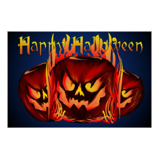 Big Flaming Pumpkin lettered Poster