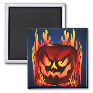 Big Flaming Pumpkin_Magnets 2 Inch Square Magnet