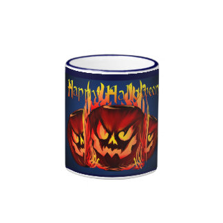 Big Flaming Pumpkin Mugs