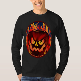 Big Flaming Pumpkin Oval Shirts