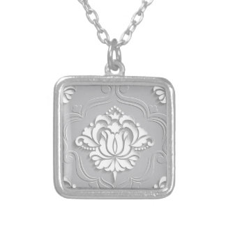 Big Floral Lace Silver Plated Necklace