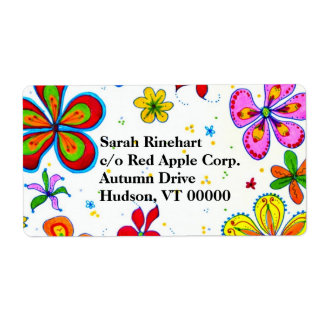 Big Flowers Art Custom Text Label