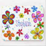 """Big Flowers Artistic Mousepad<br><div class=""""desc"""">Flower art personalized girls mousepad.  Original,  colorful,  hand drawn flower design done in colored pencil and pen.  It&#39;s easy to customize - add your favorite girl&#39;s name- in BOTH template areas.  Original artwork by PDCarter.</div>"""
