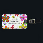 """Big Flowers Double-Sided Personalized Luggage Tags<br><div class=""""desc"""">Big flowers decorated luggage tags.  Add name and contact info to one side and home city or town to the other.   ... ... ... ... ... .</div>"""