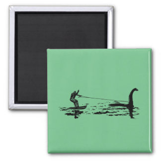 Big Foot and Nessie 2 Inch Square Magnet