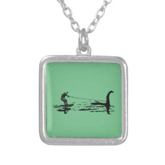 Big Foot and Nessie Square Pendant Necklace