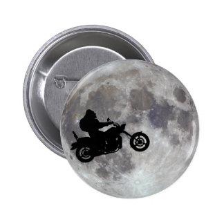 Big foot, big bike and a big bright moon pinback button