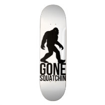 gone squatchin, funny, bigfoot, sasquatch, humor, fantasy, slogan, cool, internet memes, skateboard, gone squatchin gift, finding bigfoot, bobo, fiding, animal, memes, sci-fi, offensive, geek, vector, yeti, bfro, monster, myth, paranormal, creature, gone, squatchin, skateboards, Skateboard with custom graphic design