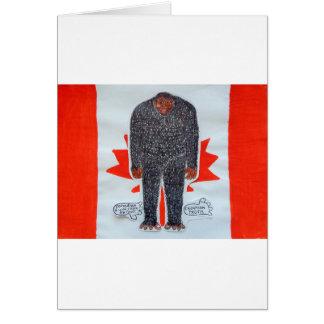 Big foot h, Canada flag. Card