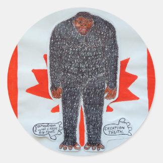 Big foot h, Canada flag. Classic Round Sticker