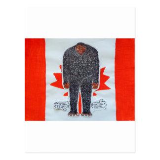 Big foot h, Canada flag. Postcard