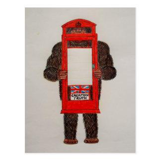 big foot in phone box..JPG Postcard
