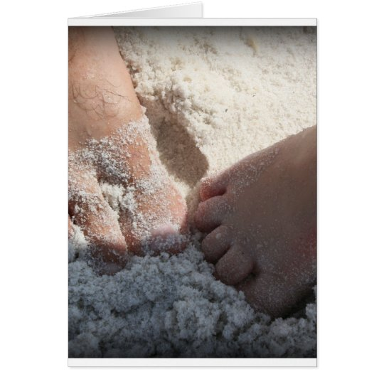 Big Foot Little Foot at the Beach Florida gulf Card