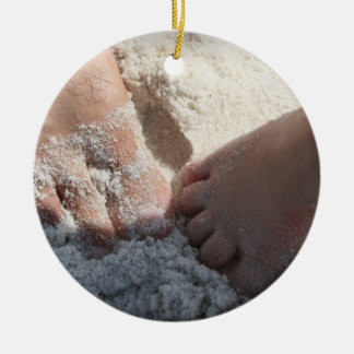 Big Foot Little Foot at the Beach Florida gulf Double-Sided Ceramic Round Christmas Ornament