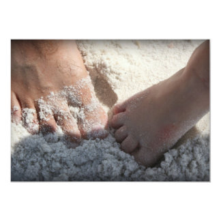 Big Foot Little Foot at the Beach Florida gulf 5x7 Paper Invitation Card