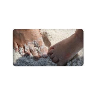 Big Foot Little Foot at the Beach Florida gulf Address Label