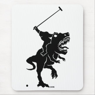 Big foot playing polo on a T-rex Mouse Pad