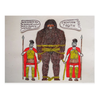 Big foot & Romans. Postcard