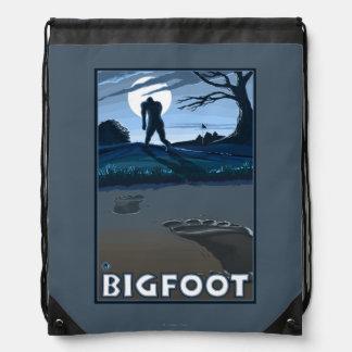 Big Foot walking through Golf Course Drawstring Backpack