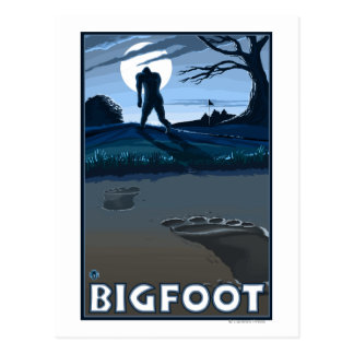 Big Foot walking through Golf Course Postcard