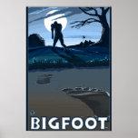 Big Foot walking through Golf Course Poster
