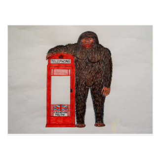 big foot with phone box, postcard